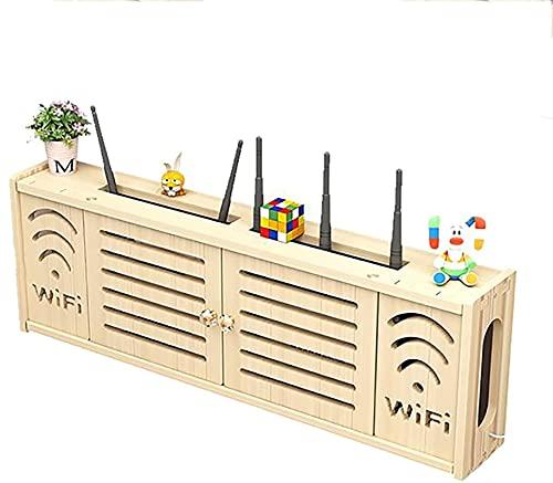 WOAIAI Estante de enrutador inalámbrico,Caja WiFi,Caja de Internet,Estante de enrutador Wifi,Estante de almacenamiento flotante Set-top Box de almacenamiento,Sala de estar montado en la pared