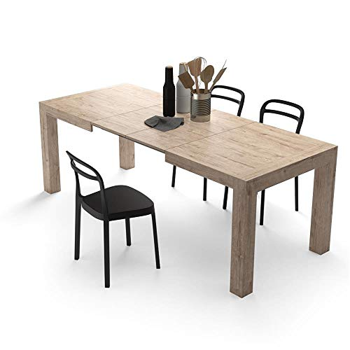 Mobili Fiver, Table Extensible Cuisine, Iacopo, Chêne Naturel, 140 x 90 x 77 cm, Mélaminé, Made in Italy