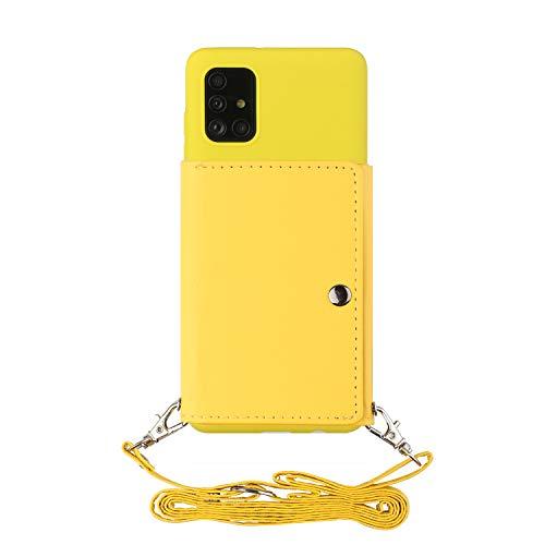 ShinyCase para Galaxy A71 5G,PU Billetera Que se Adhiere a la Parte Posterior la Cubierta del Teléfono TPU,con Cordón,Prueba de Golpes Silicona Funda para Samsung Galaxy A71 5G Amarillo