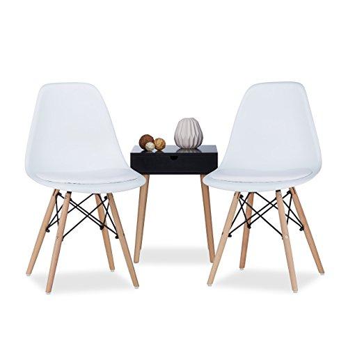 Relaxdays Chaise salle à manger design retro ARVID assise rembourrée lot de 2 moderne HxlxP: 82 x 47 x 55 cm, blanc
