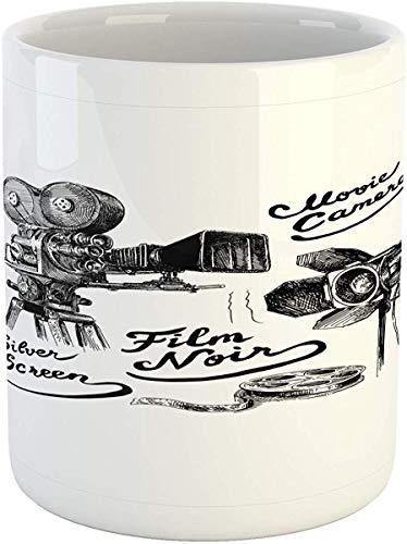 Koffie Mok 11 oz Thee Beker, Film Theater Mok, Cinematografie Thema Artwork met Oude Camera en Apparatuur Zilver Scherm, Gedrukt Keramische Koffie Mok Water Thee Drankjes Beker, Zwart Wit
