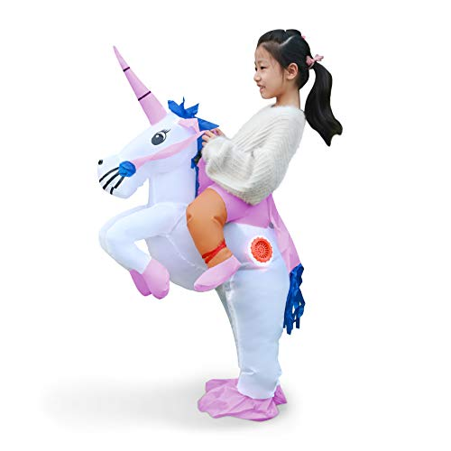 Halloween Inflatable Unicorn Costume Suit Halloween Cosplay Fantasy Air Blow Up Costume Adult/Kids(Child)