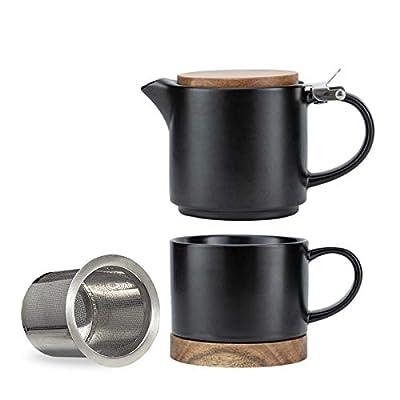 Taimei Teatime Teapot Cup Set, Modern Tea Pot Set for One 10fl.oz Black Tea Set Gifts for Women