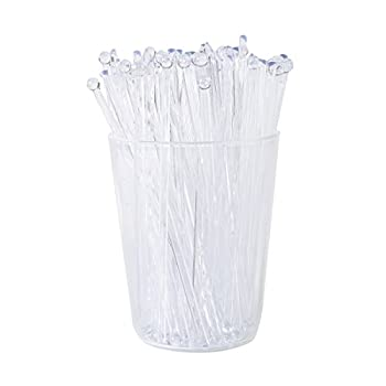 Gmark 6 Inch Plastic Round Top Swizzle Sticks 100 ct Clear Ball Head Stirrer 100 Pack GM1003D