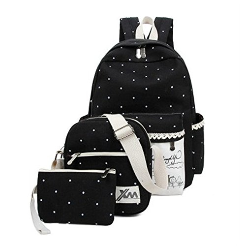 Minetom Pois 3 Pezzi Clutch Bag Messenger Tela Borsa Zainetto Donna Spalla Zaini Scuola Superiore Zainetti Ragazze Nero One Size
