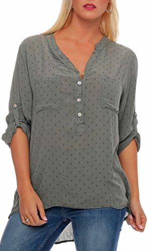 Malito Damen Bluse mit Anker Print   Tunika mit ¾ Armen   Blusenshirt auch Langarm tragbar   Elegant - Shirt 9013 (Oliv)