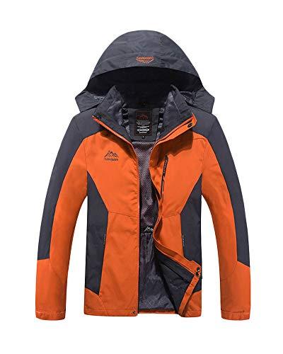 Herren/Damen 3 In 1 wasserdichte Jacke Mit Kapuze Taktischer Mantel Für Camping, Wandern, Schiessen Und Jagd Orange 2XL