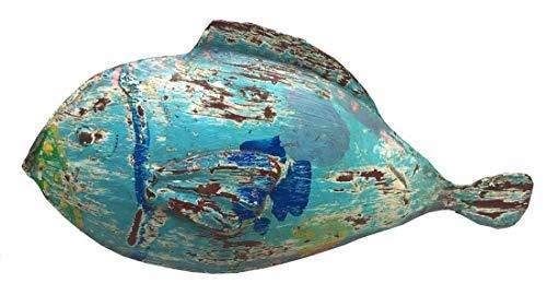 dekorative ausgefallene Metallfigur Deko-Figur Fisch ganz groß in 3 möglichen Farben blautöne (blau)