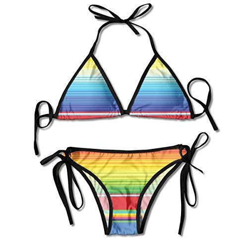 Bikini Maillots de Bain Couverture Ethnique et colorée Couverture Ethnique Tapis Lignes vibrantes abstraites Ensembles de Bikini Maillots de Bain Plage Maillot de Bain