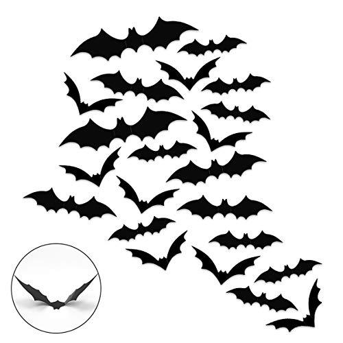 Heqishun Halloween 3D Bats Stickers Wall Decoration 120 Pcs Halloween Wall Stickers Bat Wall Decals for Party Decoration