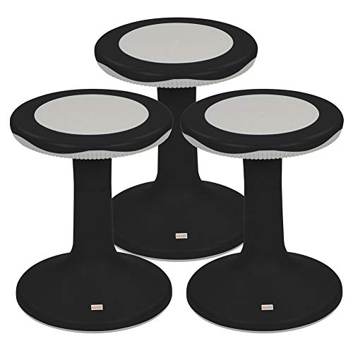 Kaplan Early Learning Company 18' K'Motion Flexible Seating Ergonomic Stool - Black - Set of 3