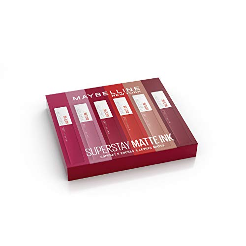 Maybelline New York - Coffret Exclusif de 6 Rouges à Lèvres Liquides Longue Tenue - Superstay Matte Ink - Teintes: Lover (15)/Seductress (65)/Artist (120)/Dancer (118)/Pioneer (20)/Voyager (50)