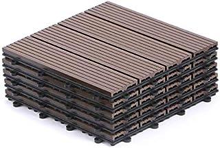 IDMarket - Dalles de terrasse x5 clipsables Bois Composite Taupe