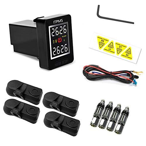 Sistema inalámbrico de monitoreo de presión de neumáticos automático TPMS para automóviles Solo para Toyota Land Cruiser Reiz, 4 sensores antirrobo internos Monitor LCD incorporado TPMS altamente