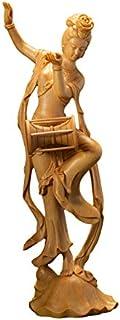 置物 柘植木彫り 【オブジェ・彫刻置物・美術品】 飛天四音 手琴侍女 腰鼓侍女 明笛侍女 琵琶侍女 6.5寸 木製彫刻 高級天然ツゲ 彫工芸品 美術品 飾り物 ギフト用 手作り (腰鼓侍女)