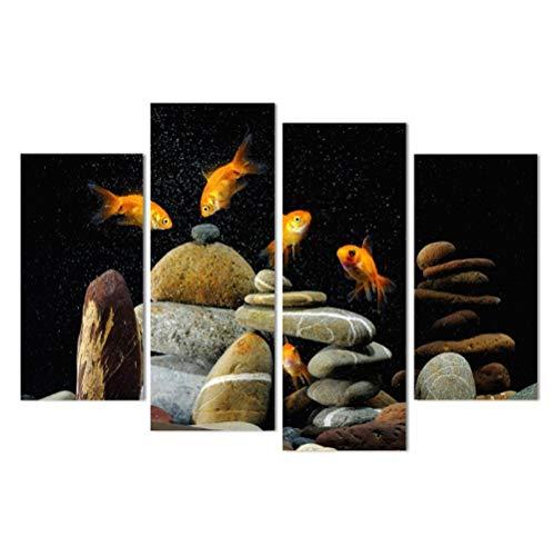 Jwqing canvas schilderij vis aquarium stenen  HD gedrukt muurkunst poster wooncultuur afbeeldingen voor de woonkamer (30x60 cm x 2 30x80 cm x 2 geen lijst)