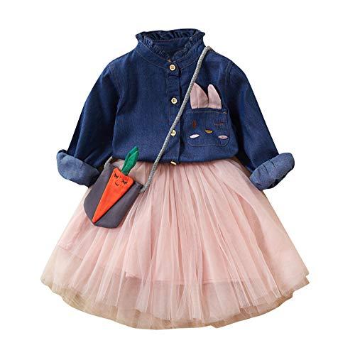 2-7 Años,SO-buts Pequeños Bebé Niña Otoño Invierno Falda De Tul + Botón De Manga Larga Camiseta Vaquera + Bolso Trajes De Princesa Conjunto Vestidos De Novia De Fiesta