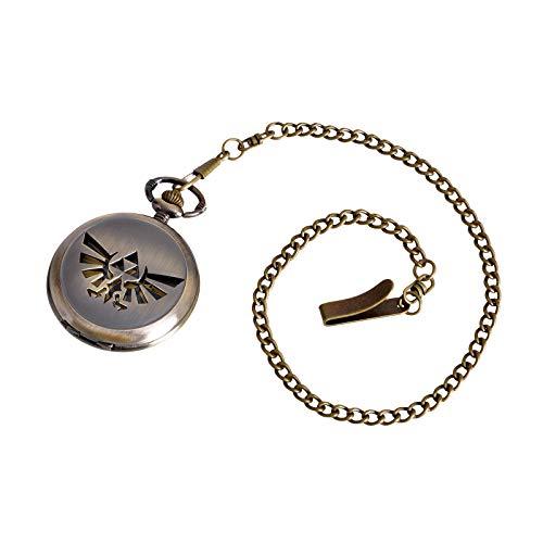 Accutime Watch Corp. Zelda Taschenuhr Hyrule Logo Analog an Kette mit Clip