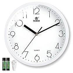 Laigoo 10 Inch Modern Wall Clock Decorative Non-Ticking - Silent Quartz Movement Battery Operated Analog Clock Round for Bedroom, Home, School, Office(White)