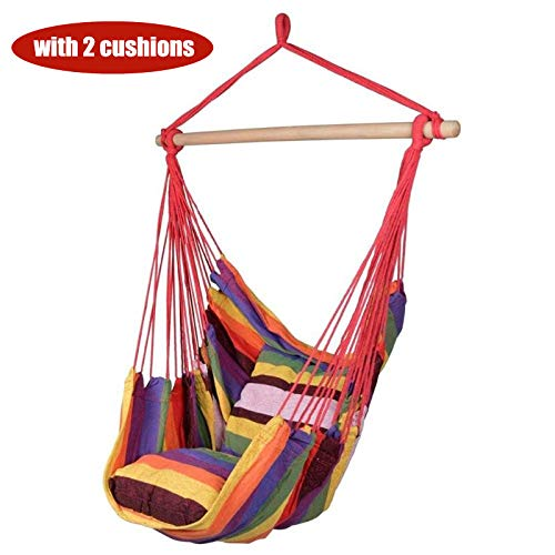 Himan - Hamaca colgante para niños con 2 almohadas para colgar la cuerda de verano, sillas para adultos, silla de jardín, interior y exterior, hamaca, Rainrow