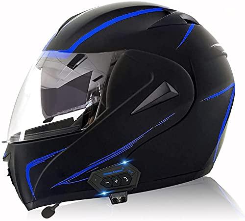 WANGFENG Casco de motocross con Bluetooth, con doble visera modular para...