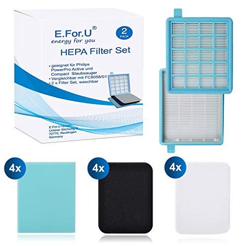 E.For.U® 2pack Filter Set für Philips beutellose Staubsauger PowerPro Active und Compact.(Vergleichbar mit FC8058/01)