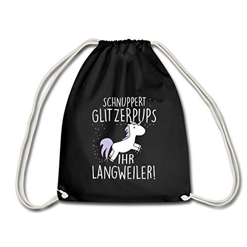 Spreadshirt Einhorn Schnuppert Glitzerpups Spruch Turnbeutel, Schwarz