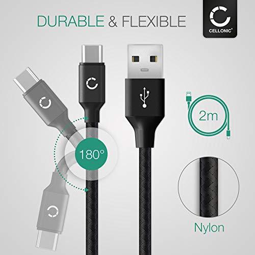 CELLONIC® IFC-100U IFC-400U USB Kabel 2m kompatibel mit Canon EOS M6 II, 1D X III, EOS Rp R Ra, PowerShot G5 X II G7 X III Ladekabel USB C Type C auf USB A 3.0 Datenkabel3Aschwarz Nylon