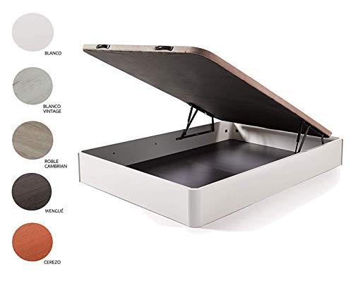HOGAR24 ES Cama Completa - Colchón Flexitex + Canape Abatible de Madera Color Blanco + Almohada de Fibra, 135x190 cm