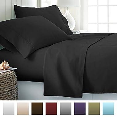 Beckham Hotel Collection Luxury Soft Brushed 1700 Series Microfiber Sheet Set - Hypoallergenic - Queen - Black