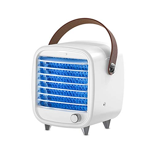Cfiret Portable Fan USB Portable Air Conditioner Small Cooling Fan, Rechargeable Desktop Built-in Ice Box, With LED Night Light