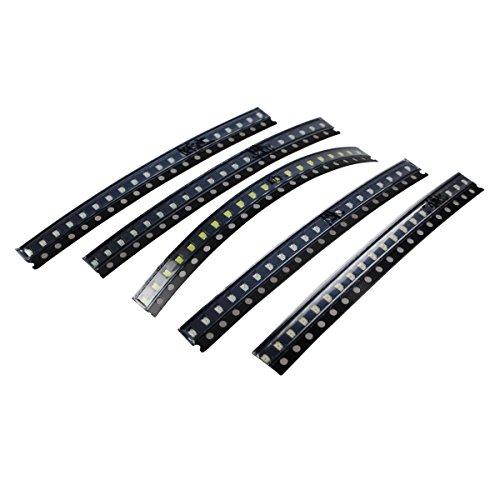 0805SMD LED, Color Rojo/Amarillo/Verde/Blanco/Azul diodos emisores de luz), color negro (100Pcs)
