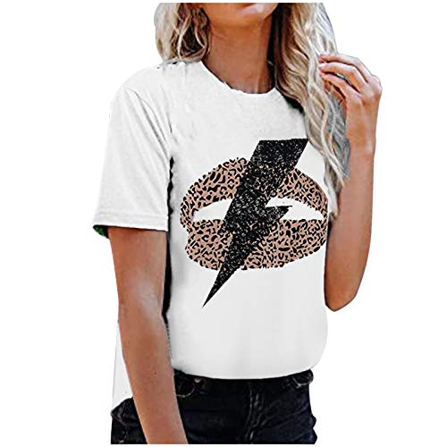 Fashion Ladies Tops for Women UK Lightning Leopard Print Short Sleeve Blouse Casual T Shirts Crew Neck Loose Sweatshirts Girls Tunic Tee Women Clothes