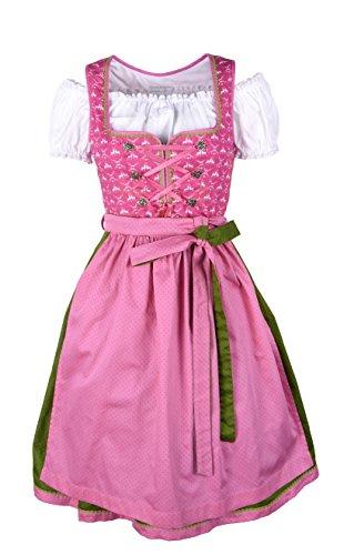 Ramona Lippert - Damen Dirndl Viktoria 3-teilig in pink 44 - Dirndlkleider für Jede Größe - wunderschönes Trachtenkleid - Tracht mit Schürze