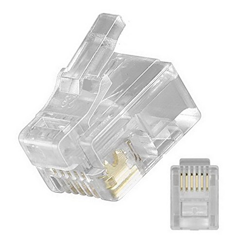 erenLine® 100 Stück RJ12 Westernstecker/Modularstecker DEC - Ausführung mit versetzter Nase Links; 6-polig; 6 Kontakte belegt (6P6C); DEC Stecker ((MMP/MMJ)