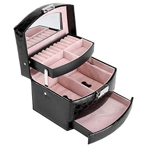 Niunion Joyero, 3 Capas Caja de joyería PU PU Caja de Almacenamiento de joyería para Anillo de Collar(3)