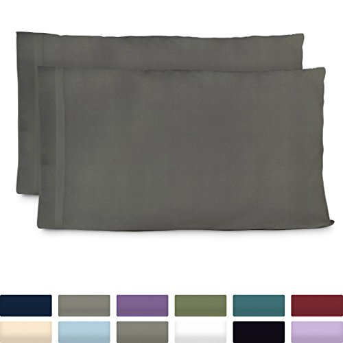 Cosy House Collection Premium Bamboo Pillowcases  Standard Grey Pillow Case Set of 2  Ultra Soft amp Cool Hypoallergenic Blend from Natural Bamboo Fiber