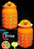 SHIVOW Ceramic Pickle Jars Set of 2, Multipurpose Made in India Jars/Salt Jars/Spices