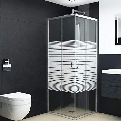 Tidyard Eckeinstieg Duschkabine Duschabtrennung Sicherheitsglas mit modernen Chrom-Griffen | Rahmenmaterial: Satin-Chrom | Glasdicke: 4 mm für einen einfachen Zugang Sorgen