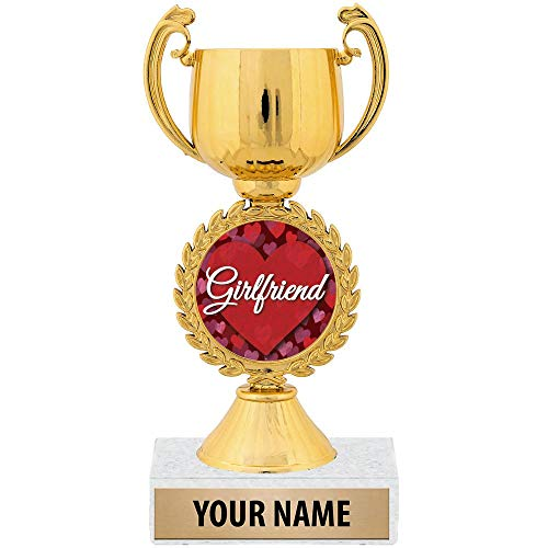 "Crown Awards Personalized Ideas, 7 1/4"" Best Girlfriend Award Trophy Great Customizable Gift for Her Prime"