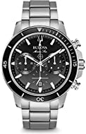 This watch has a black glass insert on ratcheted rotating bezel, it's the best present for family and friends -The watch has a calendar function: Date, six-hand chronograph, Luminous hand, Luminous Numerals High quality 21 cm length, 20 mm wide Silve...