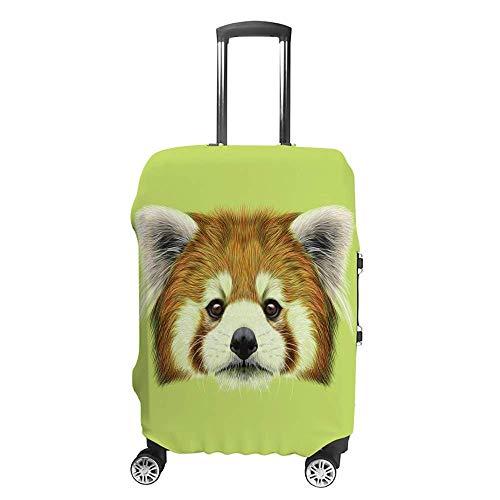 Funda de equipaje gruesa lavable con diseño de panda rojo y fondo verde de fibra de poliéster elástica, plegable, ligero, protector de maleta de viaje