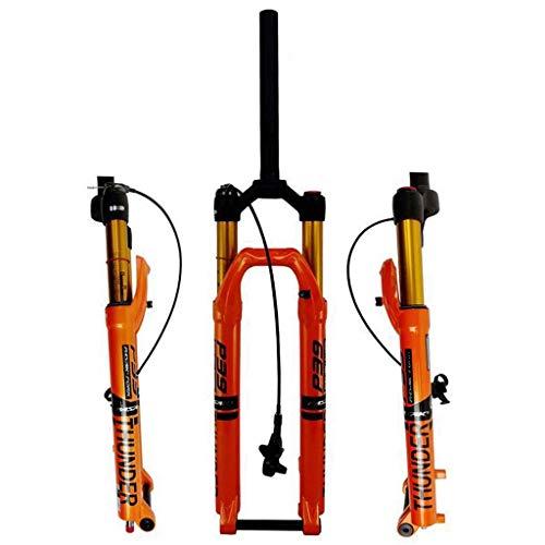"""ZHTY Horquilla de Bicicleta 27,5""""Air Rebound MTB Horquilla de suspensión de Bicicleta 29"""" 1-1/8""""Steerer 100mm Travel Axis 15x100mm Freno de Disco de Bloqueo Remoto"""
