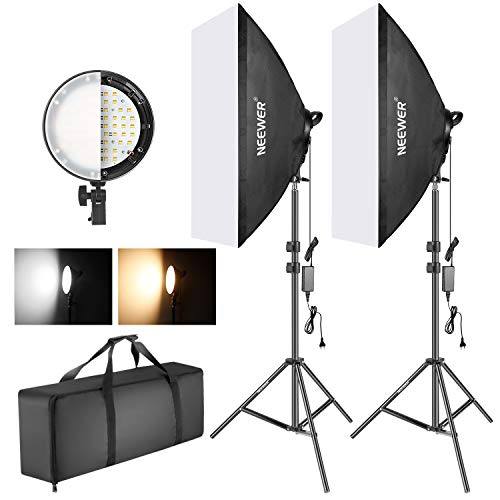 Neewer Kit Iluminación Softbox con LED Regulable Bicolor: Softbox Estudio 50x68cm Cabezal Luz LED Regulable 45W con 2 Temperaturas Color y Soporte Luz para Estudio Fotográfico Retratos