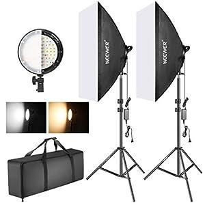 Neewer Kit Iluminación Softbox con LED Regulable Bicolor: Softbox Estudio 50x68cm Cabezal Luz LED Regulable 45W con 2 Temperaturas Color y Soporte Luz para Estudio Fotográfico Retratos