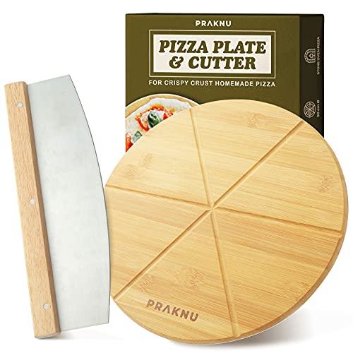 Assiette à Pizza en Bois avec Coupe-pizza - Set de 2 Pièces - Couteau à Pizza en Acier Inox à Lame Tranchant