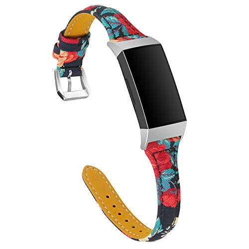 XIALEY Pulsera Deportiva De Cuero Delgada Compatible con Fitbit Charge 3/ Charge 4, Correas De Repuesto para Brazalete De Lujo Banda Accesorios para Charge 3 / Charge 4 Fitness Tracker,F