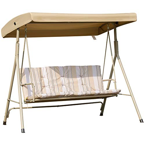 Outsunny 3 Person Outdoor Porch Swing Lounge Chair Bench with Canopy Top- Brown