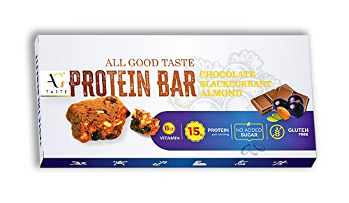 AG Taste 15G Protein Bar-Glutenfree, Sugarfree Chocolate Blackcurrant Almond -270 g (6x45g), Pack of 6 bars- Meal Replacement & Workout bar essential for gym lovers. No Added Sugar, No Preservatives
