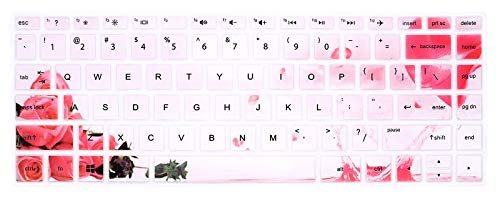 """HRH Silicone Keyboard Cover for HP 14"""" Laptop 2020 2019 2018,Pavilion x360 14M-BA 14M-CD 14M-DH 14-BA 14-BF 14-cm 14-CF 14-DF 14-DK 14-DS 14-DQ 14 Protective Skin (with Squared Keypad),Rose Flower"""